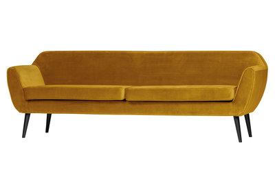 Woood Rocco sofa 230 cm fluweel oker