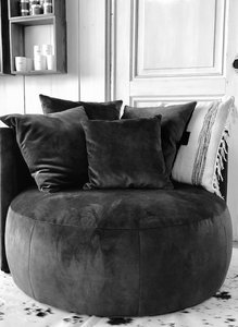 Passepartout Pastille Lounge in LSA 1604 vintage velvet Raven black